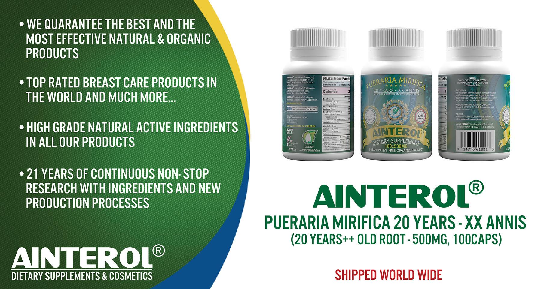 AINTEROL Pueraria Mirifica 20 YEARS - XX Annis